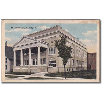Vintage postcard of the Masonic Temple where the Beacon of Hope shelter is now based in Fort Dodge - Iowa